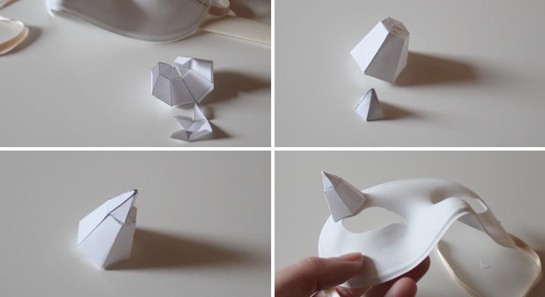 Masque Des plumes de papier Ellybeth - étape 2