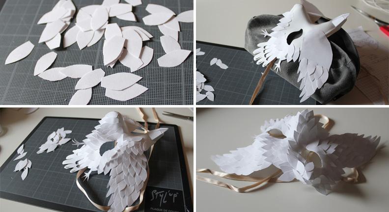 Masque Des plumes de papier Ellybeth - étape 5