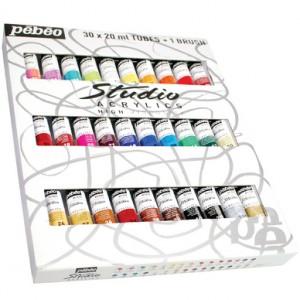 Set de 30 tubes de peinture acrylique Studio 20ml et 1 brosse