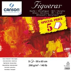Manipack 5 feuilles Huile Figueras 290g Grain Toilé 50 x 65 cm