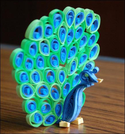 paon 3D en quilling